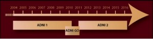 ADNI-1, -GO, and -2 timelines