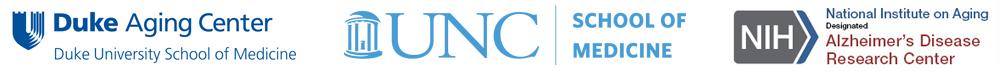 Duke Aging Center, UNC School of Medicine and NIH logos