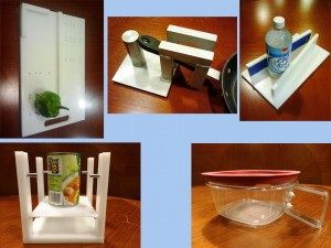 Figure 1. Chef's Choice, clockwise from top left: Cutting Board, Pot Stabilizer, Jar Opener, Can Catcher and Microwaveable Container Handle.