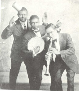 Johnny St. Cyr (banjo) with Richard M. Jones and Albert Nicholas. Courtesy Hogan Jazz Archive, Tulane University.