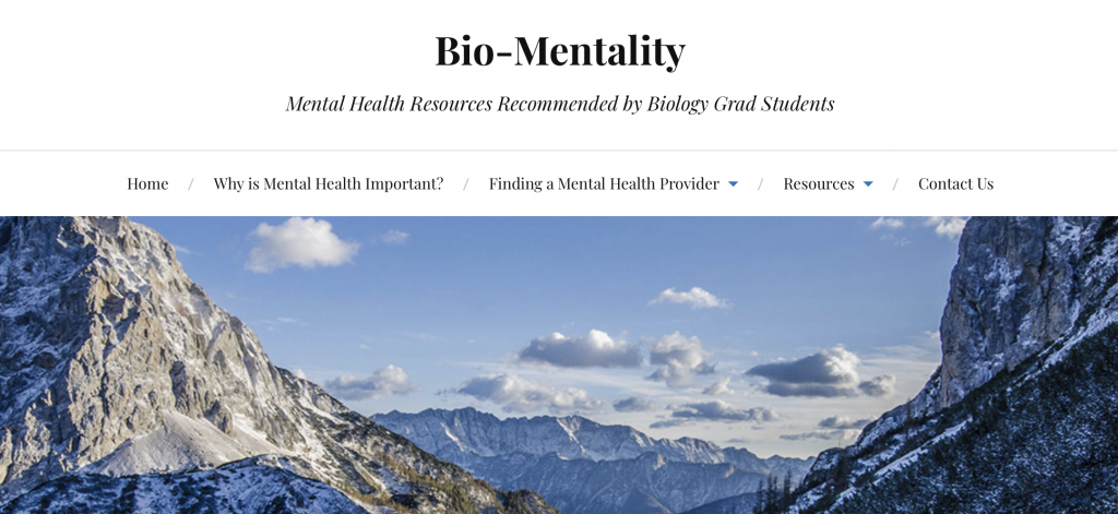 Screenshot of the top of the mental health resources webpage.