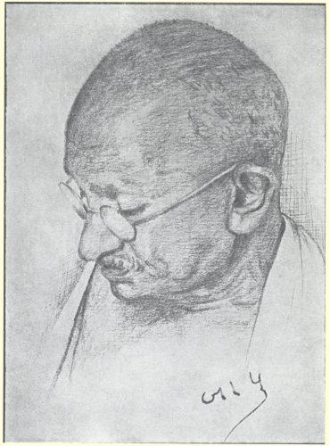 Fig. 1. Dhiren Gandhi, Untitled, portrait in pencil, c. 1945 <br /> From Dhiren Gandhi, <em>Prayer and Other Sketches of Mahatma Gandhi</em>. Bombay: Times of India Press, 1945