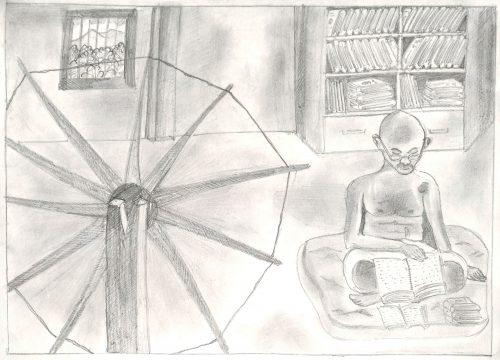 Fig. 10. Rahul, <em>Gandhiji Reading</em>, Standard X, I.B. Patel Vidyalaya, Mumbai, 2006<br />Image courtesy Mani Bhavan Gandhi Sangrahalaya and Gandhi Smarak Nidhi, Mumbai