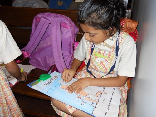 Fig. 3. Child artist at work in Mani Bhavan, Mumbai, 2017  <br />Image courtesy Mani Bhavan Sangrahalaya and Gandhi Smarak Nidhi, Mumbai
