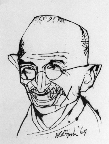 Fig. 5. K.M. Adimoolam, <em>Smiling Like a Child</em>, pen & black ink, 1969 <br />From <em>Between the Lines: Drawings by K.M. Adimoolam between 1962 and 1996</em>. Chennai: Value Arts Foundation, 1997