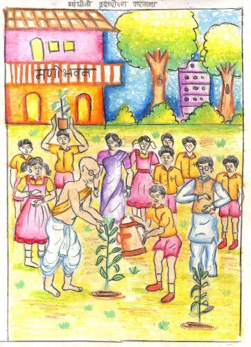 Fig. 5. Akilesh, <em>Gandhiji Planting a Sapling</em>, Standard IX, Raja Shivaji Vidyalaya, Mumbai, 2006 <br />Image courtesy Mani Bhavan Gandhi Sangrahalaya and Gandhi Smarak Nidhi, Mumbai