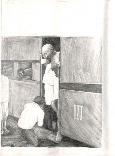 Fig. 7. Ambuj, <em>Gandhiji in a Train Compartment</em>, Standard VI, National Sarvodaya High School, Mumbai, 2013<br />Image courtesy Mani Bhavan Gandhi Sangrahalaya and Gandhi Smarak Nidhi, Mumbai