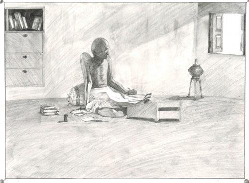 Fig. 8. Ambuj, <em>Gandhiji While Writing</em>, Standard VII, National Sarvodaya High School, Mumbai, 2014<br />Image courtesy Mani Bhavan Gandhi Sangrahalaya <br />and Gandhi Smarak Nidhi, Mumbai