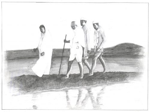 Fig. 9. Ambuj, <em>Gandhiji on a Seashore</em>, Standard VIII, National Sarvodaya High School, Mumbai, 2015<br />Image courtesy Mani Bhavan Gandhi Sangrahalaya <br />and Gandhi Smarak Nidhi, Mumbai