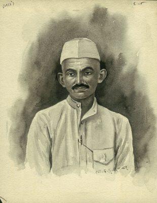 Fig. 5. S.V.  Haldankar, Untitled, ink and watercolor on paper, c. 1950s<br />Image courtesy Allahabad Museum