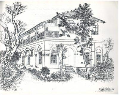 Fig. 1. <em>Kochrab Satyagraha Ashram, Ahmedabad</em>, drawing by Rathin Mitra, 1985 <br />From Rathin Mitra, <em>Gandhi: An Artist's Impression: Text & Drawings</em>. New Delhi: All India Congress Committee (I), 1985