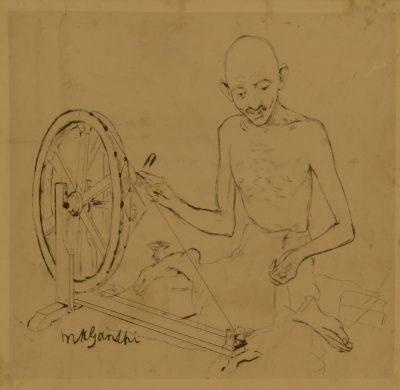 Fig. 1. Mukul Dey, <em>M.K. Gandhi with Charkha</em>, drawing on paper, 1928<br />Image courtesy Vijay Kumar Aggarwal, Swaraj Art Archive, Noida