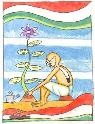 Fig. 1. Siddharth, <em>Gandhiji Planting a Sapling</em>, Standard III, J.B. Khot High School, Mumbai, 2011<br />Image courtesy Mani Bhavan Gandhi Sangrahalaya and Gandhi Smarak Nidhi, Mumbai