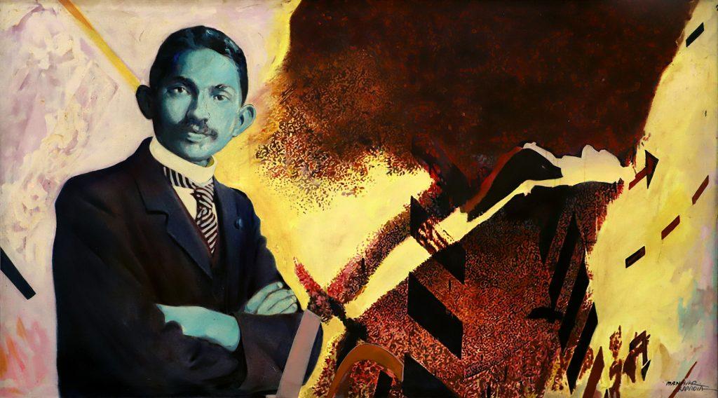 Fig. 1. Manhar Kapadia, <em>Memoir</em>, mixed media on canvas, 2015<br />Image courtesy Archer Art Gallery, Ahmedabad