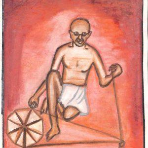 Fig.10. Solanki, <em>Gandhiji Spinning on a Spinning Wheel</em>, Standard X, Shri V.L.N. High School, Mumbai, 2005<br />Image courtesy Mani Bhavan Gandhi Sangrahalaya and Gandhi Smarak Nidhi, Mumbai