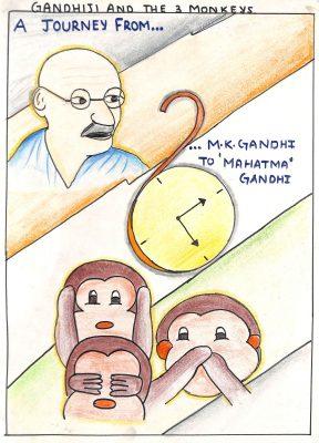 Fig. 10. Prasanthi, <em>Gandhiji and Three Monkeys</em>, Standard VIII, Modern English School, Mumbai, 2005<br />Image courtesy Mani Bhavan Gandhi Sangrahalaya and Gandhi Smarak Nidhi, Mumbai
