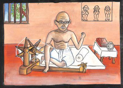 Fig. 11. Suvarna, <em>Gandhiji Is Spinning</em>, Standard VI, J.B. Vachha High School, Mumbai, 2005<br />Image courtesy Mani Bhavan Gandhi Sangrahalaya <br />and Gandhi Smarak Nidhi, Mumbai