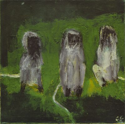 Fig. 12. Haku Shah, <em>Three Monkeys</em>, oil on canvas, 2014<br />Image courtesy the artist's family