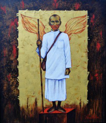 Fig. 12. Nawal Kishore, <em>Gandhi (An Untold Story)</em>, acrylic on canvas, 2019<br />Image courtesy the artist and Uma Nair