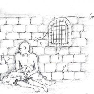 Fig. 13. Donnel, <em>Gandhiji in Jail</em>, Standard VIII, St Joseph's High School, Mumbai, 2014<br />Image courtesy Mani Bhavan Gandhi Sangrahalaya <br />and Gandhi Smarak Nidhi, Mumbai