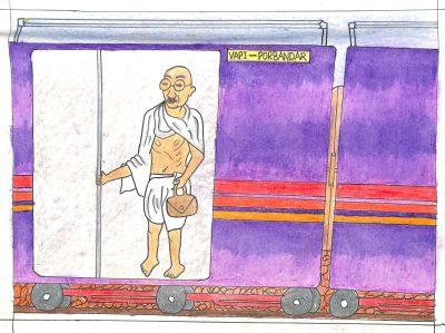 Fig. 16. Rishit, <em>Gandhiji in Train Compartment</em>, Standard VI, Dr Sarvepalli Radhakrishnan Vidyalaya, Mumbai, 2013<br />Image courtesy Mani Bhavan Gandhi Sangrahalaya <br />and Gandhi Smarak Nidhi, Mumbai