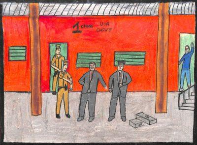Fig. 17. Raunak, <em>Gandhiji in Train Compartment</em>, Standard VI, St Joseph's High School, Mumbai, 2013<br />Image courtesy Mani Bhavan Gandhi Sangrahalaya <br />and Gandhi Smarak Nidhi, Mumbai