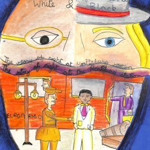 Fig. 19. Sneha, <em>Victim of Colour Bar</em>, Standard V, Gopi Birla Memorial School, Mumbai, 2002<br />Image courtesy Mani Bhavan Gandhi Sangrahalaya and Gandhi Smarak Nidhi, Mumbai