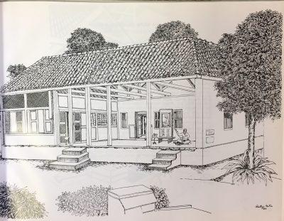 Fig. 2. <em>Hridaya Kunj, Ahmedabad</em>, drawing by Rathin Mitra, 1985 <br />From Rathin Mitra, <em>Gandhi: An Artist's Impression: Text & Drawings</em>. New Delhi: All India Congress Committee (I), 1985