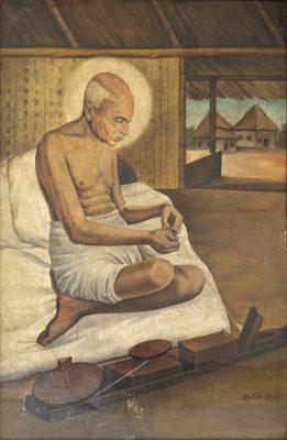 Fig. 2. Shanti Shah, <em>Gandhi</em>, oil on canvas, c. 1950<br />Image courtesy Anil Relia, Ahmedabad
