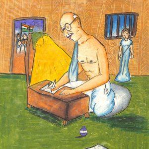 Fig. 2. Jahnvi, <em>Gandhiji Is Writing</em>, Standard V, V.N. Sule Guruji Vidyalaya, Mumbai, 2009<br />Image courtesy Mani Bhavan Gandhi Sangrahalaya and Gandhi Smarak Nidhi, Mumbai