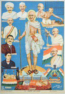 Fig. 2. <em>Bapuji ki Amar Kahani</em>, chromolithograph based on an oil painting by L.K. Sharma, published by Picture Publishing Company, Bombay, c. 1948<br />Image courtesy Anil Relia, Ahmedabad
