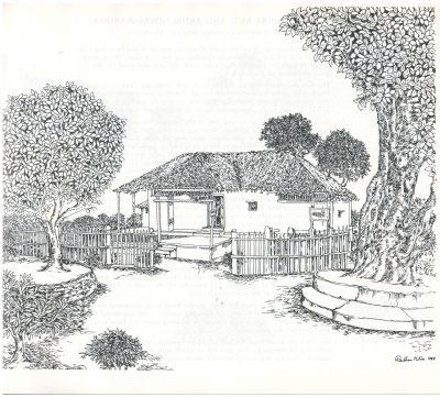 Fig. 3. <em>Sevagram—Bapu Kutir</em>, drawing by Rathin Mitra, 1985 <br />From Rathin Mitra, <em>Gandhi: An Artist's Impression: Text & Drawings</em>. New Delhi: All India Congress Committee (I), 1985