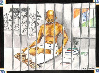 Fig. 3. Prajwal, <em>Gandhiji in Jail</em>, Standard VIII, Thakur Vidya Mandir High School, Mumbai, 2014<br />Image courtesy Mani Bhavan Gandhi Sangrahalaya and Gandhi Smarak Nidhi, Mumbai