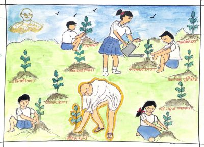 Fig. 3. Namrata, <em>Gandhi Planting a Sapling</em>, Standard VII, New English School, Mumbai, 2006<br />Image courtesy Mani Bhavan Gandhi Sangrahalaya and Gandhi Smarak Nidhi, Mumbai