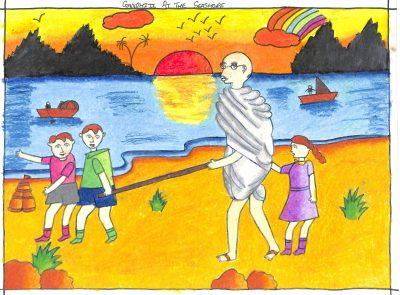 Fig. 3. Virali, <em>Gandhi at the Seashore</em>, Standard VI, S.V.D.D. School, Mumbai, 2015<br />Image courtesy Mani Bhavan Gandhi Sangrahalaya and Gandhi Smarak Nidhi, Mumbai