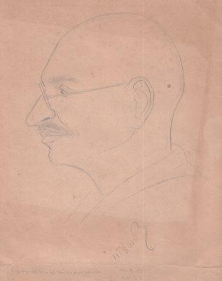 Fig. 3.  Chhaganal Jadav, Mahatma Gandhi at Sheth Rancchodbhai Shodhan's bungalow, Madigai, pencil on paper, 1933 <br />From Rizwan Kadri, ed., <em>Unseen Drawings of Dandi March: Drawings of Chhaganlal Jadav</em>. Ahmedabad: Sri Swaminarayan Gadi Sansthan, 2018