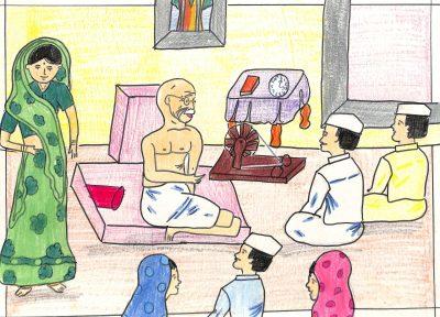 Fig. 4. Prachi, <em>Gandhiji in the Ashram</em>, Standard VI, Children's Academy, Mumbai, 2002<br />Image courtesy Mani Bhavan Gandhi Sangrahalaya and Gandhi Smarak Nidhi, Mumbai