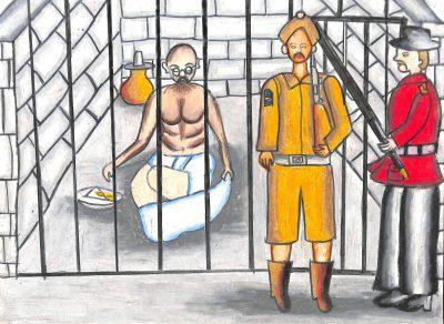 Fig. 4. Swarangi, <em>Gandhiji in Jail</em>, Standard VII, Gloria Convent High School, Mumbai, 2014<br />Image courtesy Mani Bhavan Gandhi Sangrahalaya and Gandhi Smarak Nidhi, Mumbai