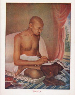Fig. 4. Gandhi absorbed in writing, chromolithograph published in Delhi, c. 1935<br />Image courtesy Priya Paul Collection@TasveerGhar, New Delhi