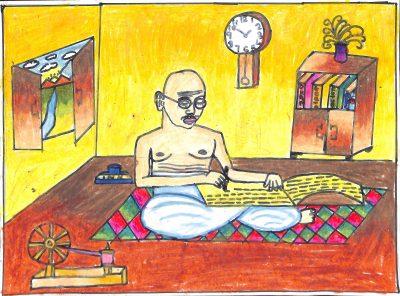 Fig. 4. Titiksha, <em>Gandhiji Is Writing</em>, Standard IV, Children's Academy, Mumbai, 2016<br />Image courtesy Mani Bhavan Gandhi Sangrahalaya and Gandhi Smarak Nidhi, Mumbai