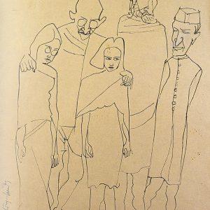 Fig. 4. K.M. Adimoolam, <em>Morning Walk-1</em>, Ink on paper, 1969<br />Image courtesy K.M. Adimoolam Foundation