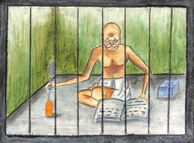 Fig. 5. Sidhi, <em>Gandhiji in Jail</em>, Standard VII, Udayachal High School, Mumbai, 2014<br />Image courtesy Mani Bhavan Gandhi Sangrahalaya and Gandhi Smarak Nidhi, Mumbai