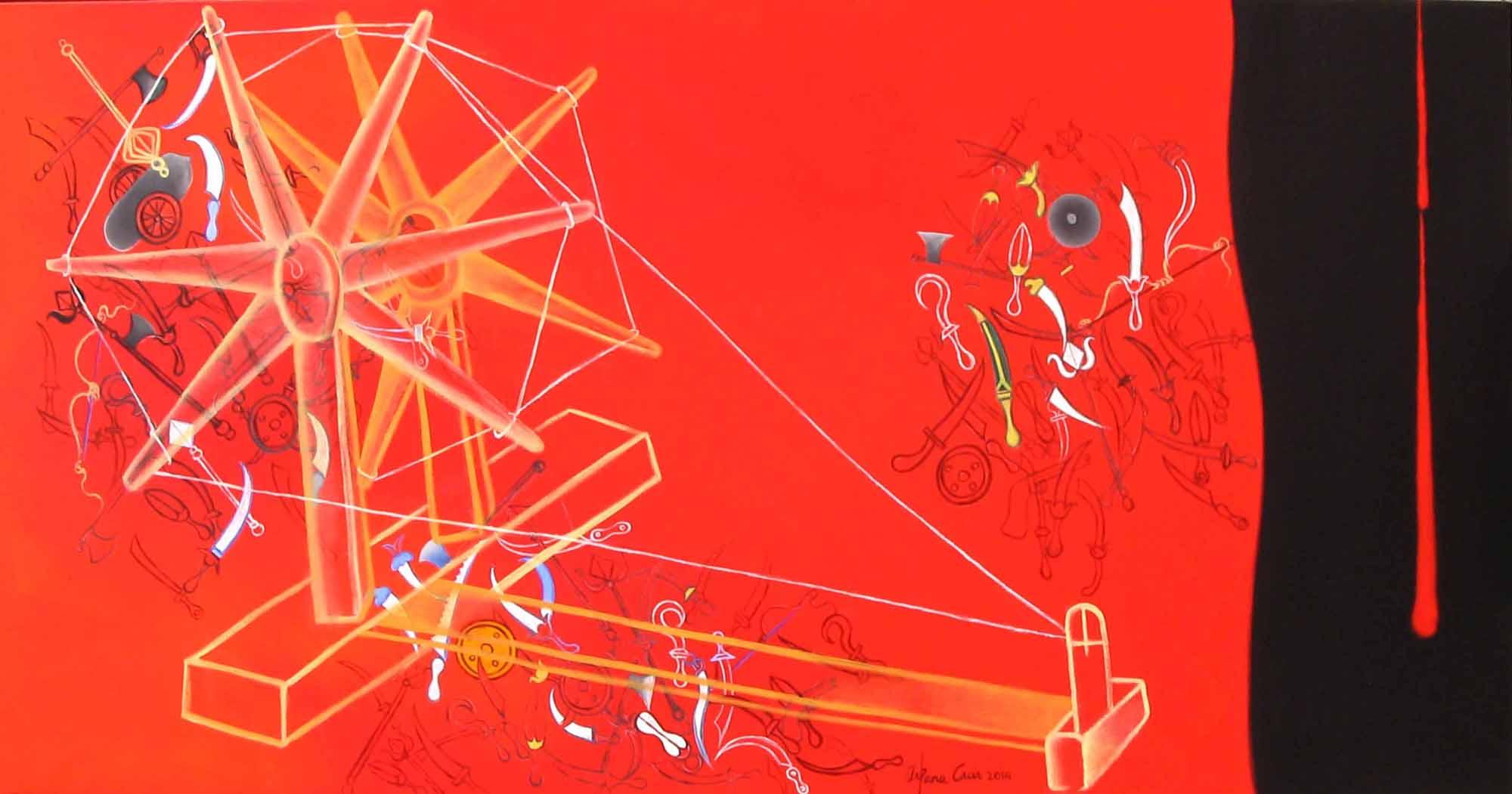 Fig. 5. Arpana Caur, <em>Charkha (Red)</em>, oil on canvas, 2014<br />Image courtesy the artist