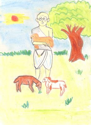 Fig. 5. Siddharth, <em>Gandhiji Fondling the Goat</em>, Standard IV, Children's Academy, Ashok Nagar, Mumbai, 2008<br />Image courtesy Mani Bhavan Gandhi Sangrahalaya <br />and Gandhi Smarak Nidhi, Mumbai
