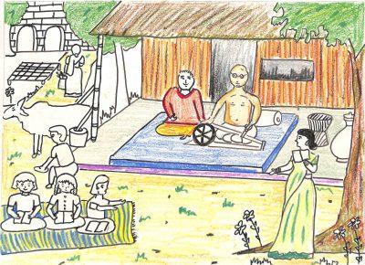 Fig. 5. Kanan, <em>Gandhi in Ashram</em>, Standard V, Children's Academy, Mumbai, 2002<br />Image courtesy Mani Bhavan Gandhi Sangrahalaya and Gandhi Smarak Nidhi, Mumbai