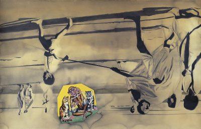 Fig. 5. Atul Dodiya, <em>Morning Walk on Juhu Beach (An Artist of Nonviolence</em> series), watercolour on paper, 1998<br />Image courtesy the artist