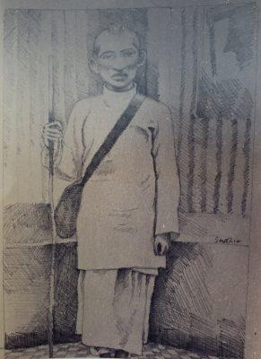 Fig. 6.  Sudhir Patwardhan, <em>Gandhiji</em>, pencil on paper, 1995<br />Image courtesy Sahmat, New Delhi