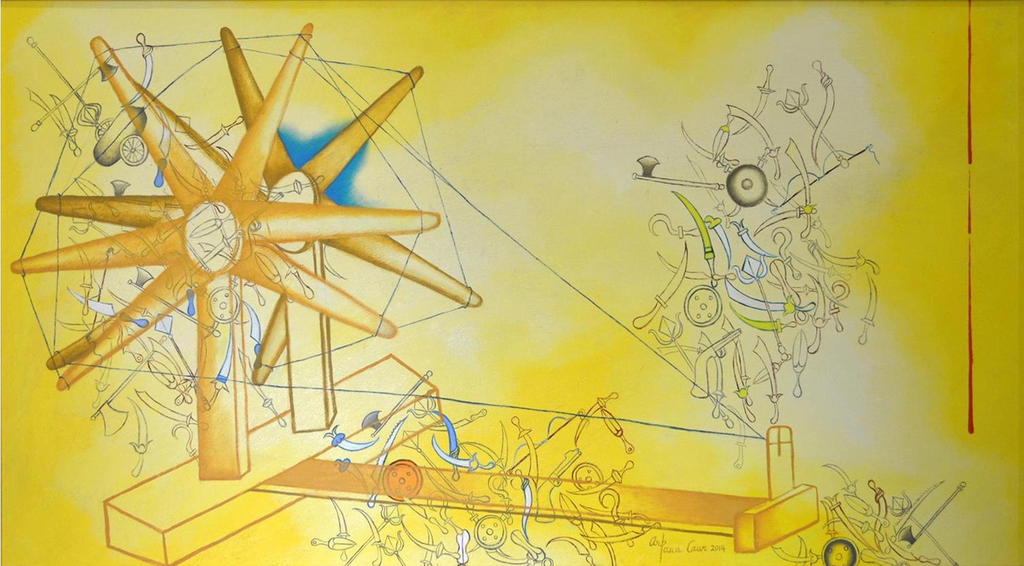 Fig. 6. Arpana Caur, <em>Charkha (Yellow)</em>, acrylic on canvas, 2014<br />Image courtesy Vijay Kumar Aggarwal, Swaraj Art Archive, Noida