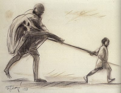 Fig. 6. Jatin Das, <em>Gandhiji with Child at Juhu Beach</em> (Study for the Mural at Parliament Annexe, <em>Journey of India: Mohenjodaro to Mahatma Gandhi</em>), conte crayon on paper, 1999<br />From Neville Tuli, <em>A Historical Epic: India in the Making, 1757–1950: From Surrender to Revolt, Swaraj to Responsibility</em>. Mumbai: Osian's, 2002