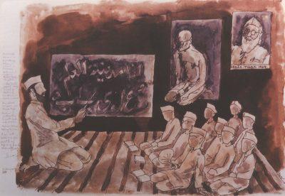 Fig. 6. M.F. Husain, <em>Autobiography XIV: 'Madrasa Hisamia' Boarding School in Baroda, Nationalist  Leader Abbas Tyabji its  patron. On Gandhi  Jayanti Day I did a sketch  of Gandhi on black  board. Our school uniform was Gandhi topi.  Medium of Instruction Gujarati, Urdu and Arabic. Maulavi Akbar taking the class. I am sitting holding a fan next to my life long friend Arshad (specs)</em>, acrylic on canvas, c. 1989 <br />From Rashda Siddiqui, <em>In Conversation with Husain Paintings</em>. New Delhi: Books Today, 2001